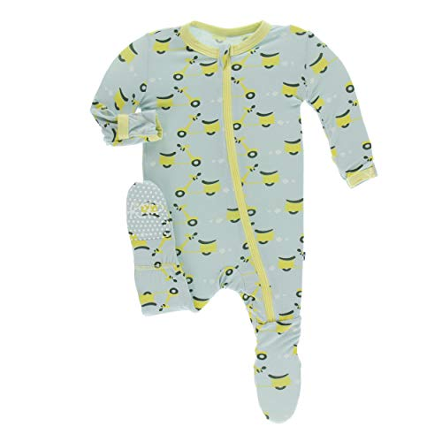 5e46bb7ed Footies – Kickee Pants Little Boys Print Footie with Zipper – Spring Sky  Scooter, 3-6 Months Offers