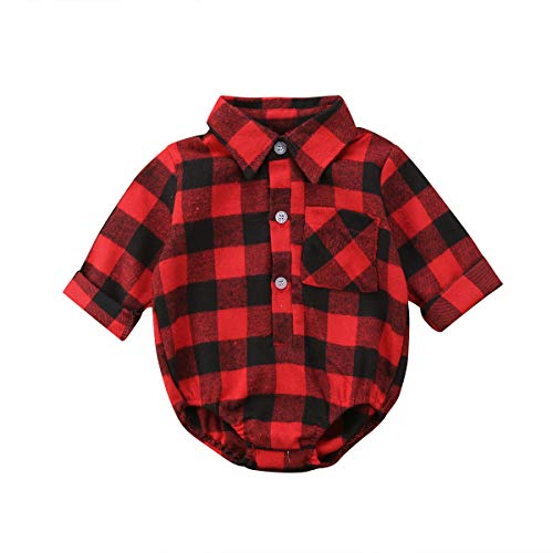 15462f9e7e70 Rompers – Baby Christmas Clothes Baby Boy Girl Long Sleeve Plaid Rompers  Bodysuits Blouses Style Romper Jumpsuits One-Piece Outfits Clothes (Red  Black, ...