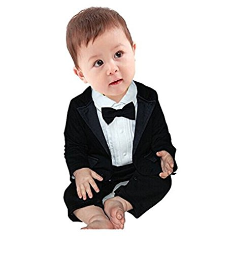 fc1280d3d Rompers – iEFiEL 2pcs Baby Boys Long Sleeve Tuxedo Wedding Romper and  Jacket Black 0-3 Months