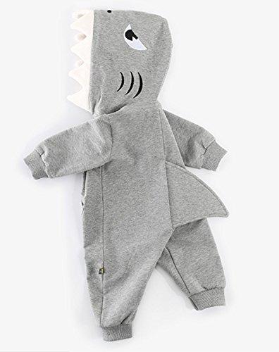 Baby Boys Girls Zipper 3D Cartoon Shark Shape Hooded Onesies Romper Jumpsuit Playsuit Outfit