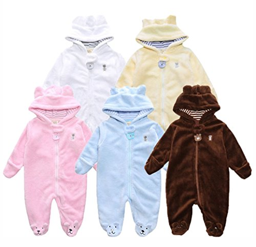 GORBAST Cute Baby Boys Girls Hooded Romper Winter Warm Fleece Thick Footies Jumpsuit Infant Outfits Snowsuit