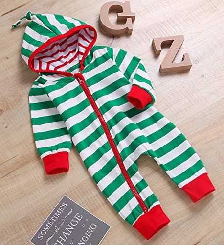 09ae162d5c00 Rompers – Unisex Baby Boy Girls Christmas Outfit Family Pajamas Long Sleeve  Striped Zipper Hooded Romper Jumpsuit Infant Clothes (Green, 6-12 Months)