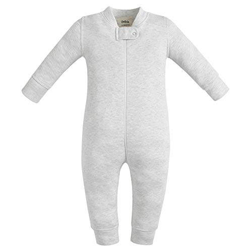 0-2T SYCLZ Baby 2-Pack 100/% Cotton Romper Jumpsuits Two Way Zipper Long Sleeve Footless Sleep and Play